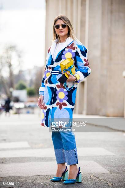Thassia Naves is seen in the streets of Paris after the Miu Miu show during Paris Fashion Week Womenswear Fall/Winter 2017/2018 on March 7 2017 in...