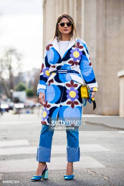 Thassia Naves is seen in the streets of Paris before the Miu Miu show during Paris Fashion Week Womenswear Fall/Winter 2017/2018 on March 7 2017 in...