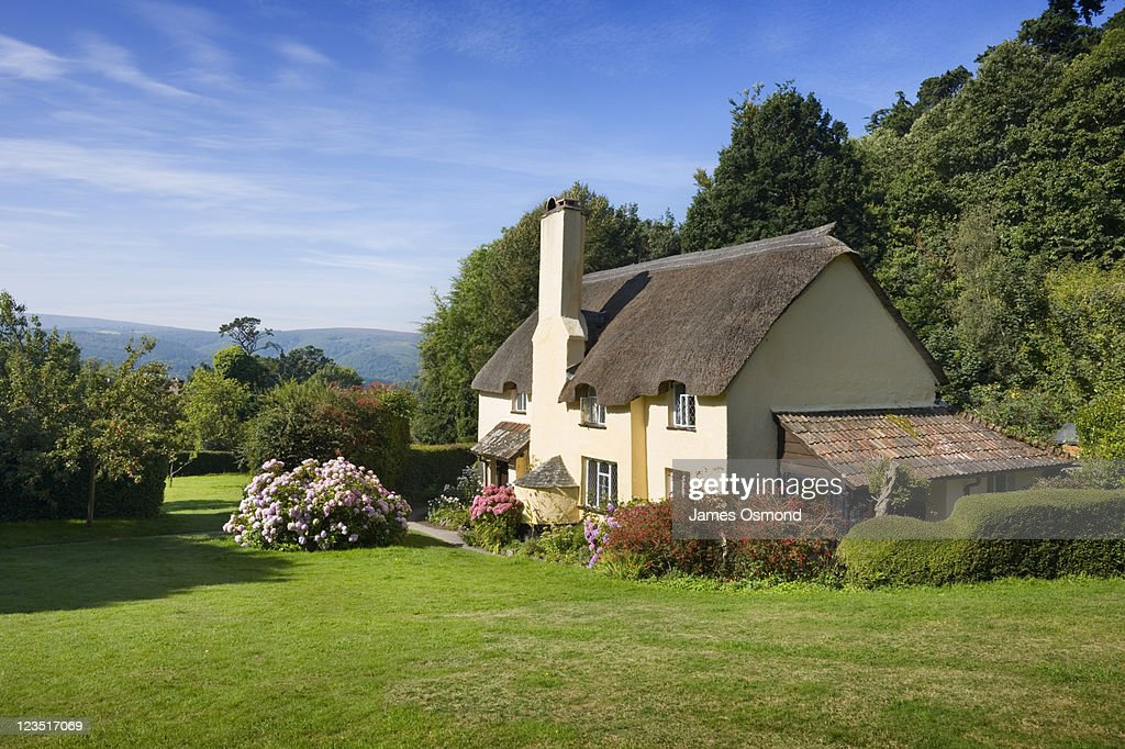 Thatched Cottage in Selworthy. Exmoor National Park. Somerset. England. UK.