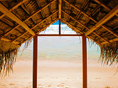 Thatched roof beach, straw