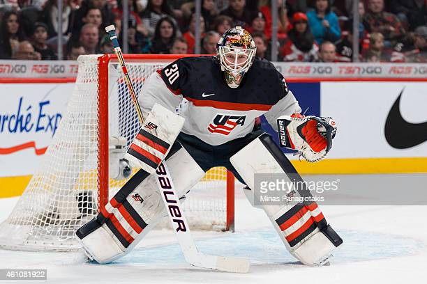 Thatcher Demko of Team United States gets into position as he looks towards the play in a preliminary round game at the 2015 IIHF World Junior Hockey...