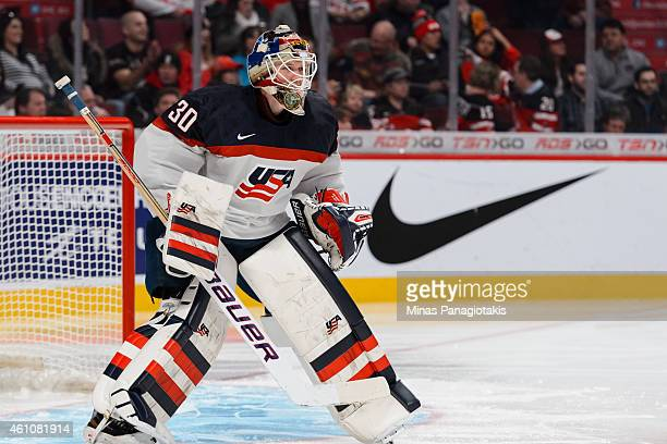 Thatcher Demko of Team United States looks on in a preliminary round game during the 2015 IIHF World Junior Hockey Championships against Team Canada...