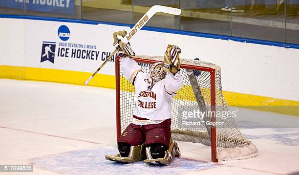 Thatcher Demko of the Boston College Eagles celebrates a 32 victory against the Minnesota Duluth Bulldogs during the NCAA Division I Men's Ice Hockey...