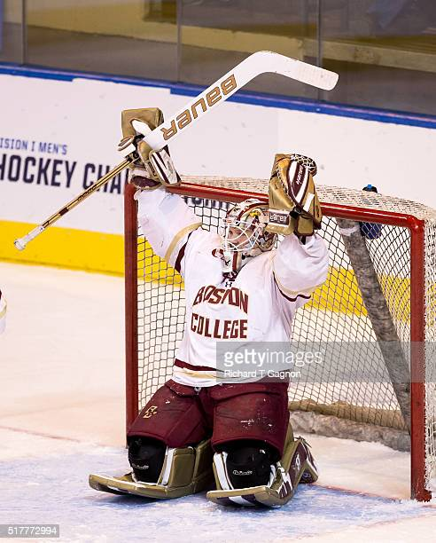 Thatcher Demko of the Boston College Eagles celebrates a victory after the NCAA Division I Men's Ice Hockey Northeast Regional Championship Final...