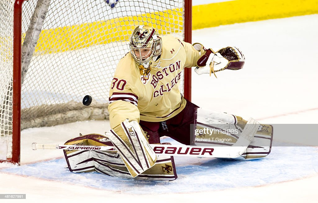 Thatcher Demko #30 of the Boston College Eagles makes a save against the Massachusetts Lowell River Hawks during the NCAA Division I Men's Ice Hockey Northeast Regional Championship Final at the DCU Center on March 30, 2014 in Worcester, Massachusetts.