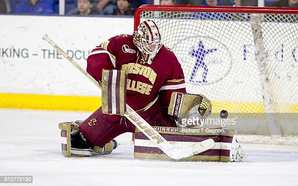 Thatcher Demko of the Boston College Eagles makes a save against the Massachusetts Lowell River Hawks during NCAA hockey at the Tsongas Center on...