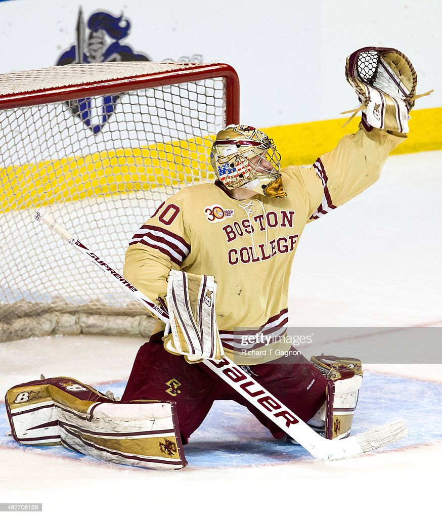 Thatcher Demko #30 of the Boston College Eagles tends goal against the Massachusetts Lowell River Hawks during the NCAA Division I Men's Ice Hockey Northeast Regional Championship Final at the DCU Center on March 30, 2014 in Worcester, Massachusetts.