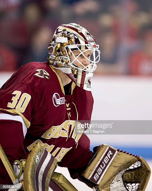Thatcher Demko of the Boston College Eagles tends goal against the Boston University Terriers during NCAA hockey at Agganis Arena on January 16 2016...