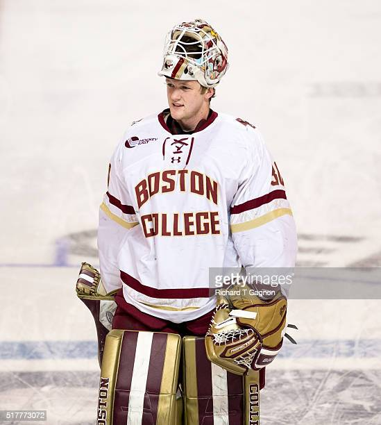 Thatcher Demko of the Boston College Eagles warms up before a game against the Minnesota Duluth Bulldogs during the NCAA Division I Men's Ice Hockey...