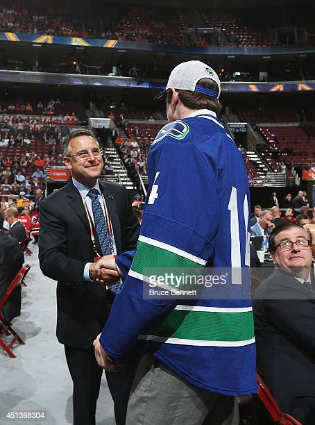 Thatcher Demko of the Vancouver Canucks meets his team after being drafted on Day Two of the 2014 NHL Draft at the Wells Fargo Center on June 28 2014...