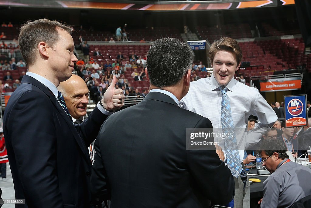 Thatcher Demko of the Vancouver Canucks meets his team after being drafted on Day Two of the 2014 NHL Draft at the Wells Fargo Center on June 28, 2014 in Philadelphia, Pennsylvania.
