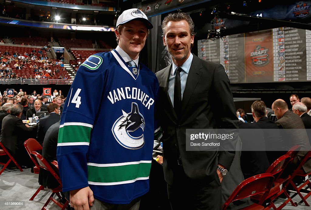 Thatcher Demko poses with President Trevor Linden after being selected 36th overall by the Vancouver Canucks during the 2014 NHL Entry Draft at Wells Fargo Center on June 28, 2014 in Philadelphia, Pennsylvania.