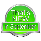 green that's new in september button – 3D illustration