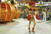 Thayla Ayala participates in the parade on the Sambodromo during Rio Carnival on February 15 2015 in Rio de Janeiro Brazil