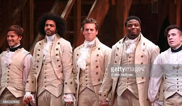 Thayne Jasperson Daveed Diggs Jonathan Groff Okieriete Onaodowan and John Rua during the Broadway opening night performance of 'Hamilton' at the...