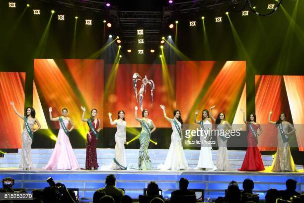 The 10 semifinalist candidates wave their hands during the Miss Earth Philippines coronation night at Mall Of Asia Arena in Pasay City Its a total of...