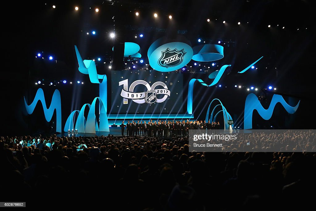 The 100 Greatest NHL Players of All Time pose on the stage during the NHL 100 presented by GEICO Show as part of the 2017 NHL All-Star Weekend at the Microsoft Theater on January 27, 2017 in Los Angeles, California.