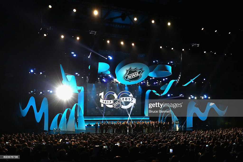 The 100 Greatest NHL Players of All Time stand on the stage during the NHL 100 presented by GEICO Show as part of the 2017 NHL All-Star Weekend at the Microsoft Theater on January 27, 2017 in Los Angeles, California.