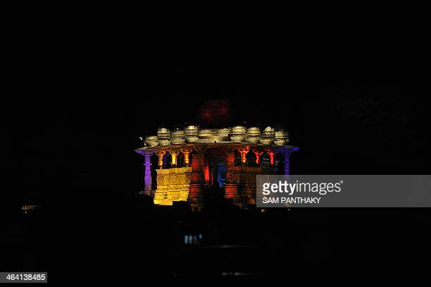The 1000 year old Surya Mandir or Sun Temple is lit up on the first day of a two day 'Uttarardh Mahotsav' or Dance Festival at Modhera some 100 kms...