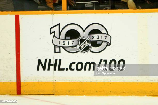 The 100th Anniversary NHL logo is shown during Game Four of Round Two of the Stanley Cup Playoffs held on May 2 at Bridgestone Arena in Nashville...