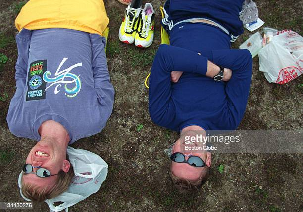 The 106th Running of the Boston Marathon Franz Hebl left from Rochester Minn and Ryan Suess right from Madision Wis relax inside the runners village...