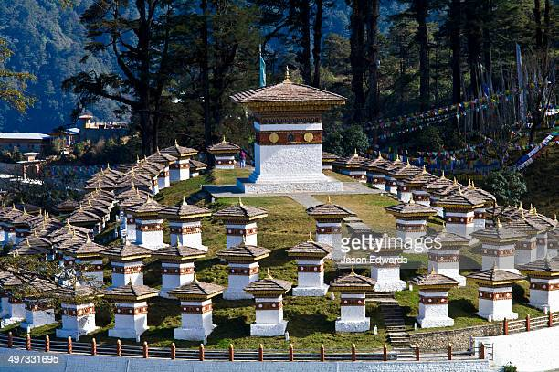 The 108 chortens dedicated to the King of Bhutan on a mountain pass.