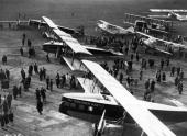 The 10th anniversary of the Paris to London Air service at Le Bourget Airport Paris The foreground aircraft are Liore et Olivier 213's They were...