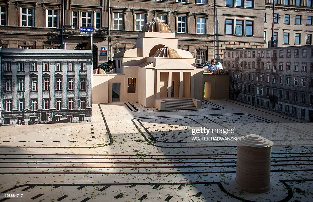 The 1-10 scale model of the largest synagogue in pre-war Warsaw, the Great Synagogue seen on May 16, 2013 in Warsaw. The model is installed on the place near the original location 70 years after it was destroyed during World War II Warsaw Ghetto liquidation.