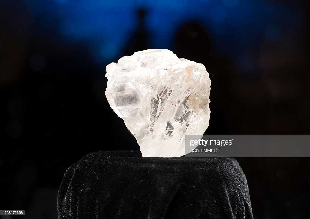 The 1,109-carat LESEDI LA RONA diamond is displayed May 4, 2016 at Sotheby's in New York. The rough diamond, uncovered in Botswana, southern Africa, last year estimated to be three billion years old, will be offered in a stand-alone auction in London on June 29, 2016, estimated to sell for in excess of $70 million USD. EMMERT