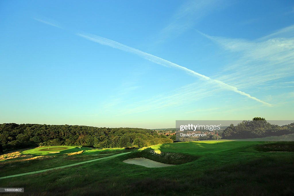 The 119 yards par 3 17th hole 'Kestrel View' at The Royal Cromer Golf Club on July 25 in Cromer Norfolk England