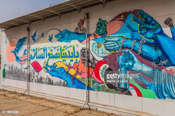 The 11th Peace Wall Baghdad by German Artist Julian Vogel in collaboration with the Goethe Institute is seen on April 23 2015 in Baghdad Iraq'nDuring...