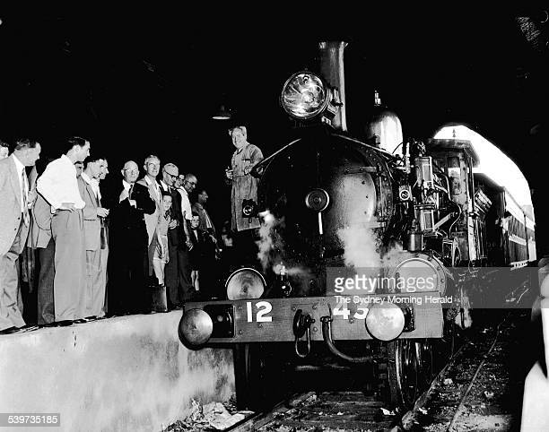 The 1243 steam locomotive leaves Central Mortuary Station in Sydney 15 October 1955 SMH NEWS Picture by REDDEN