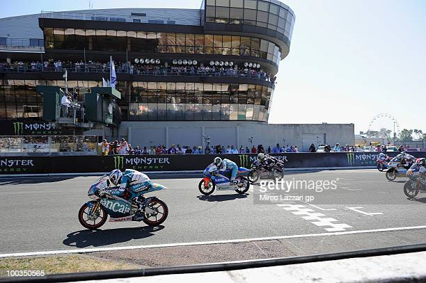 The 125 cc riders start from the grid during the 125 cc race at the French Grand Prix at Le Mans Circuit on May 23 2010 in Le Mans France