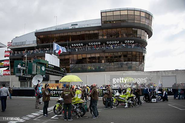 The 125cc riders prepare to start on the grid of the 125cc race of MotoGP of France in Le Mans Circuit on May 15 2011 in Le Mans France