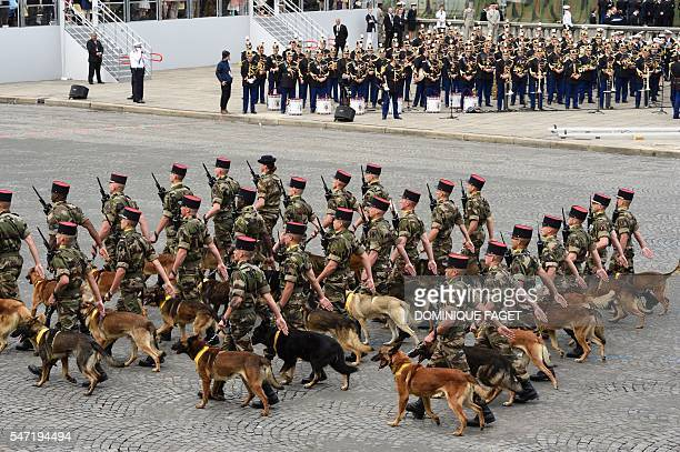 The 132nd Canine Unit Bataillon of the French Army march down the ChampsElysees avenue in Paris during the annual Bastille Day military parade on...