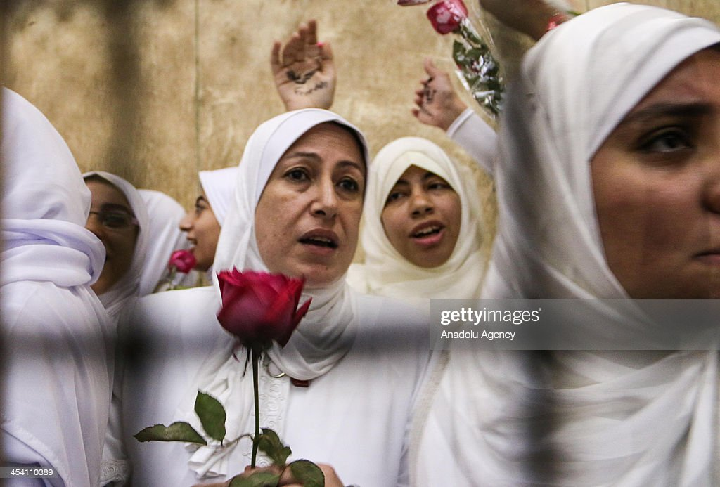 The 14 Egyptian women who were sentenced to 11-year jail terms for taking part in pro-Morsi protest last month, hold red roses as they stand in the defendants' cage during their appeal hearing in a courtroom on December 7, 2013 in Alexandria, Egypt. An Egyptian court on Saturday slapped suspended one-year jail terms against 14 female supporters of Mohamed Morsi. Fourteen women, most of whom are in their early 20s, have been sentenced to 11 years in prison each for 'blocking roads' and 'belonging a banned organization' the latter charge a reference to the Muslim Brotherhood, the group from which Morsi hails.