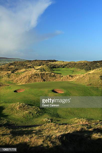 The 143 yards par 3 6th hole 'Five Penny Piece' with the 4th green behind on the Strand Course at Portstewart Golf Club on October 27 2010 in...
