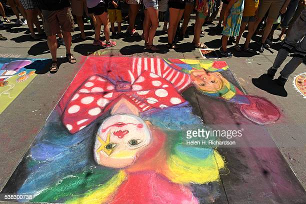 The 14th annual chalk art festival on June 5 2016 in Denver Colorado The twoday arts celebration attracts over 100000 people per day This year there...