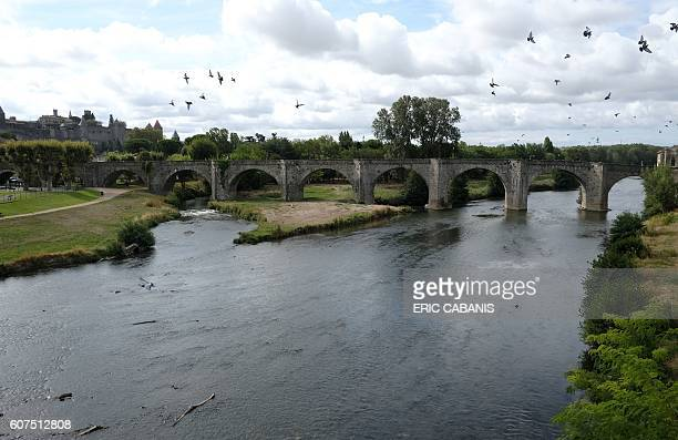 The 14th century Pont Vieux crosses the River Aude leading to the medieval citadel in the southern French city of Carcassonne on September 18 2016...