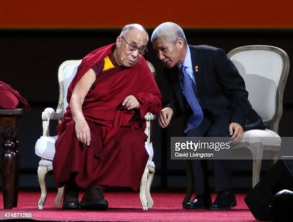 The 14th Dalai Lama Tenzin Gyatso appears on stage at The Forum on February 25 2014 in Inglewood California