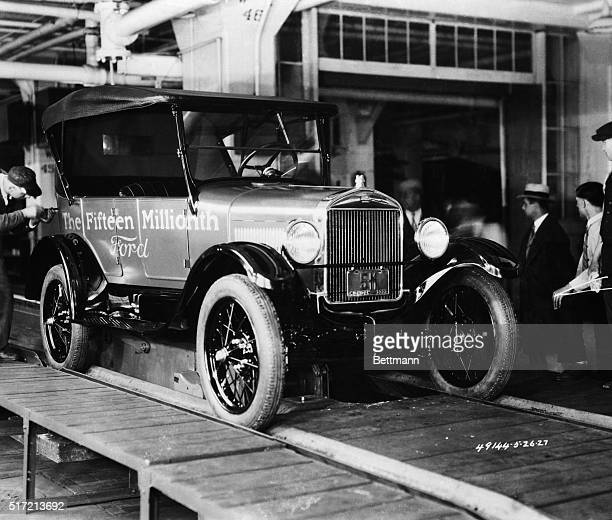 The 15 millionth Ford Model T coming off the assembly line at the Dearborn factory May 26 1927 The first Model A was built Oct 20 1927 and introduced...