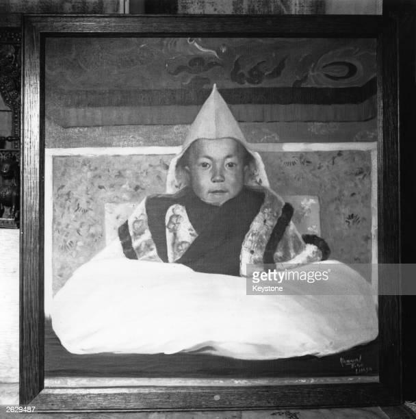 The 15 year old boy ruler of Tibet Dalai Lama Tenzin Gyatso Original Artwork Painting by Kanwal Krishna Original Publication People Disc HF0528