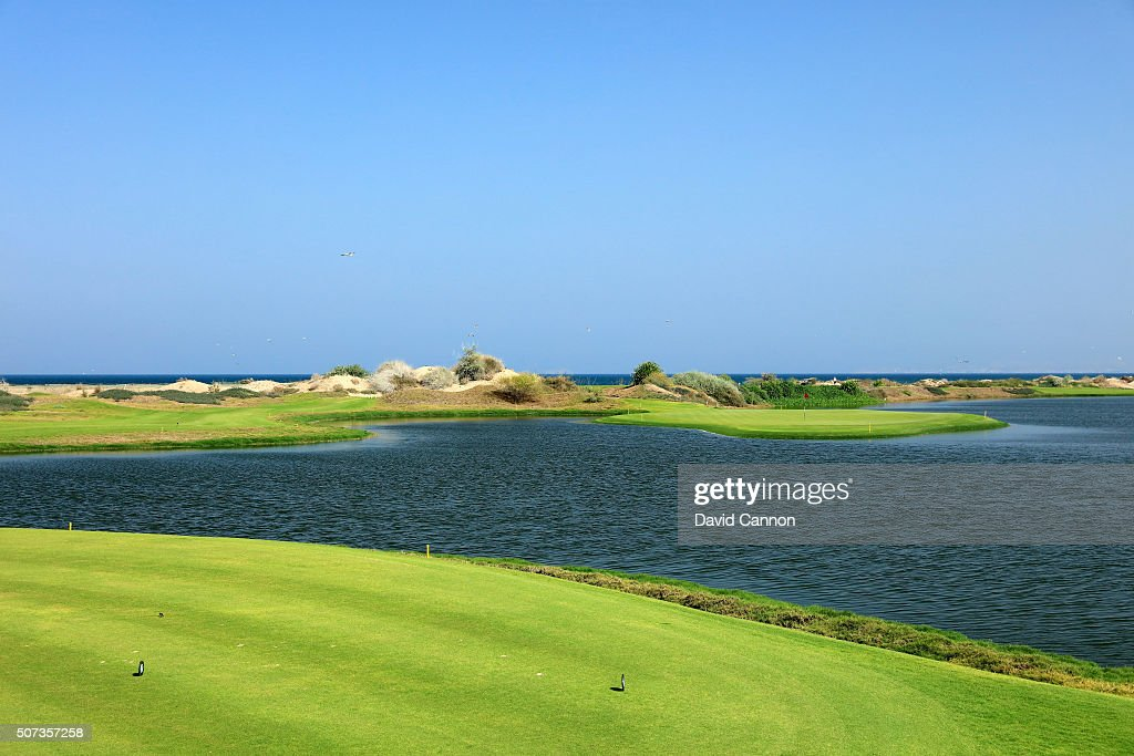 The 150 yards par 3 14th hole on the Greg Norman designed championship course at the Almouj Golf on January 27 2016 in Muscat Oman