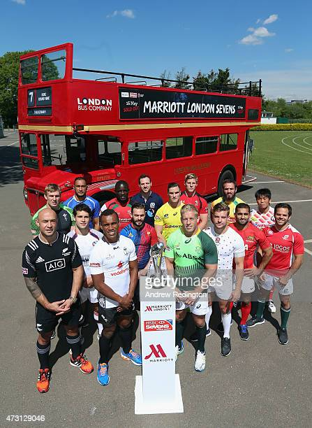 The 16 international captains during the Marriott London Sevens Launch on May 13 2015 in Barnes England The tournament will take place at Twickenham...