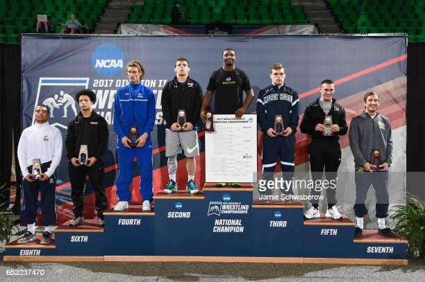 The 165 lb weigh class AllAmericans pose during the Division II Men's Wrestling Championship held at the Birmingham CrossPlex on March 11 2017 in...