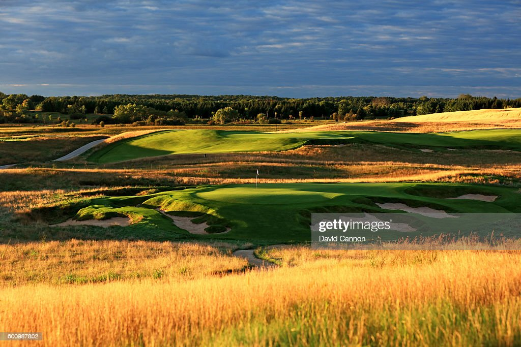 The 165 yards par 3, ninth hole with the green on the par 5, 18th hole behind at Erin Hills Golf Course the venue for the 2017 US Open Championship on September 1, 2016 in Erin, Wisconsin.
