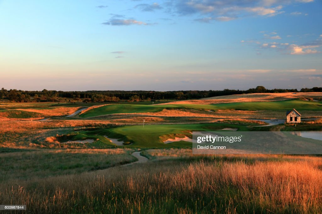 The 165 yards par 3, ninth hole with the green on the par 5, 18th hole behind at Erin Hills Golf Course the venue for the 2017 US Open Championship on August 31, 2016 in Erin, Wisconsin.