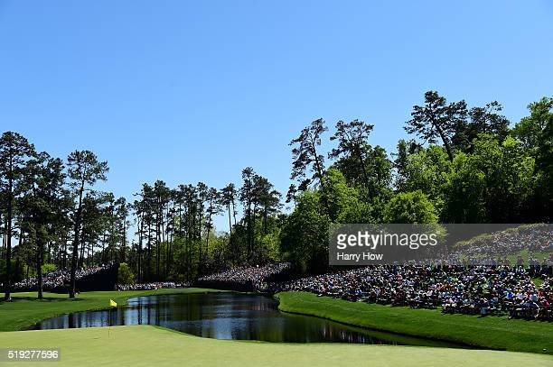 The 16th green is seen during a practice round prior to the start of the 2016 Masters Tournament at Augusta National Golf Club on April 5 2016 in...