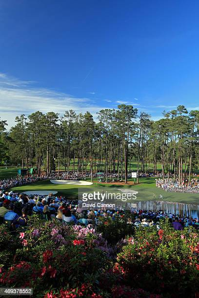 The 16th green is seen during the third round of the 2015 Masters Tournament at Augusta National Golf Club on April 11 2015 in Augusta Georgia