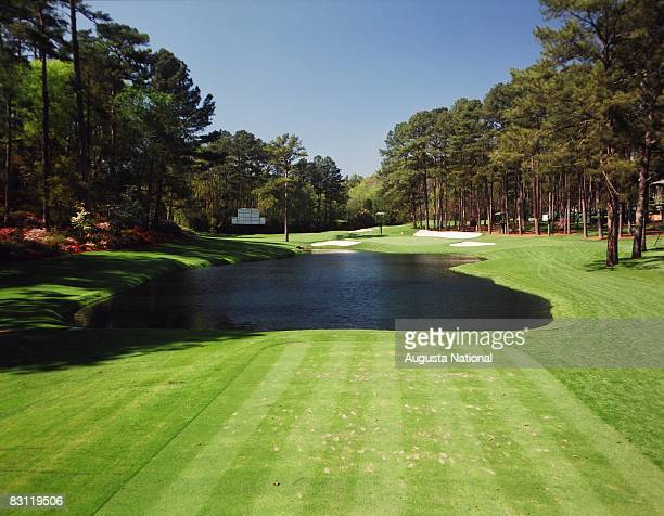 The 16th hole from the tee box at Augusta National Golf Club in Augusta Georgia